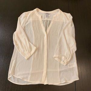 H&M White/Cream Quarter Sleeve Semi Sheer Blouse